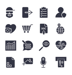 different icons simple icons for apps vector image