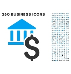 Dollar Bank Icon with Flat Set vector