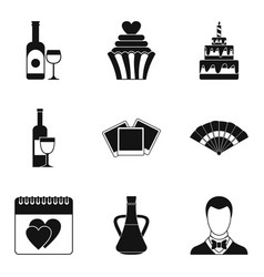 Drinking wine icons set simple style vector