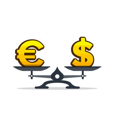 euro sign overweight dollar sign on scales vector image