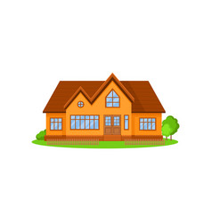 flat icon of lovely two-storey house with vector image