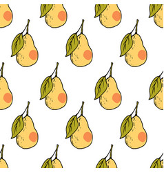 fresh pear hand drawn seamless pattern vector image