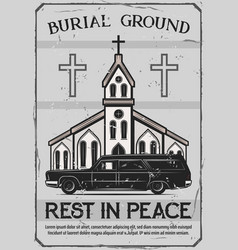 Funeral service church and catafalque hearse vector