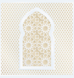 Golden and white arabic ornamental mosque window vector