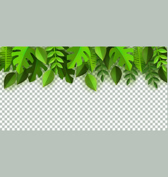 green leaves frame background template vector image
