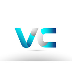 Grey blue alphabet letter vc v c logo 3d design vector