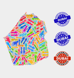 Hand collage dubai emirate map and textured vector