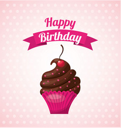 Happy birthday sweet dessert celebration vector