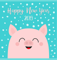 Happy new year 2019 pig piggy piglet face head vector