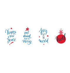 happy new year and christmas vintage handwritten vector image