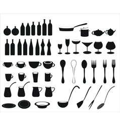 Icons tableware and cutlery vector