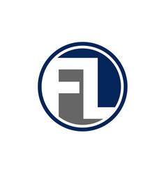 Initial fl letter logo design isolated on white vector