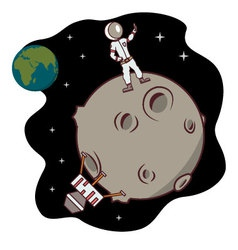 Isolated cartoon moon landing selfie time vector image
