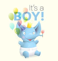 Its a boy baby elephant greeting card cartoon vector