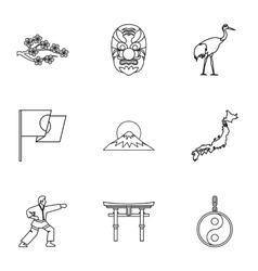 Japan icons set outline style vector