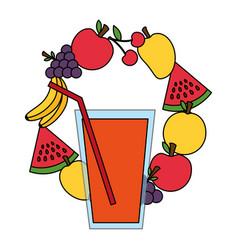 juice cup fruits healthy food vector image