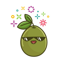 Kawaii smiling green olive vector
