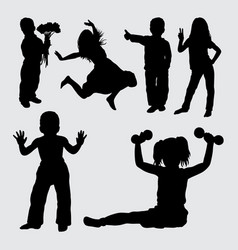 Kid gesture silhouette vector