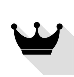 king crown sign black icon with flat style shadow vector image