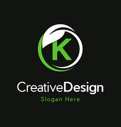 Letter k circle leaf creative business logo vector