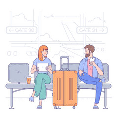 man and woman in airport vector image