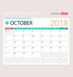 October 2018 calendar or desk vector