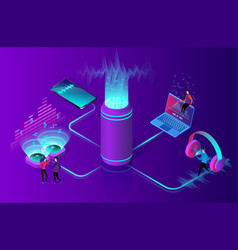 online music streaming concept flat isometric vector image