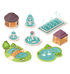 park fountains gazebo pavilions and garden ponds vector image