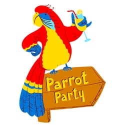 Parrot with cocktail on wooden designator vector