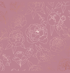 pattern with peonies with imitation of rose gold vector image
