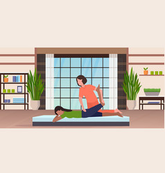 Personal trainer doing stretching exercises vector