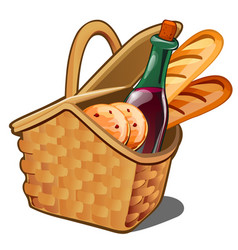 Picnic wicker basket with food product oatmeal vector