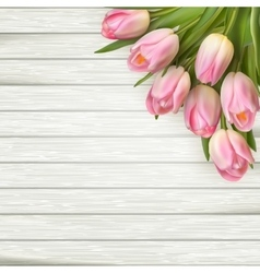 Pink tulips on wooden background EPS 10 vector image