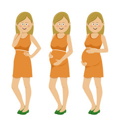 Pregnant woman at different stages of pregnancy vector