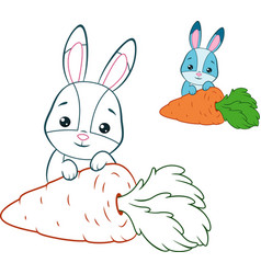 Rabbit and carrot coloring page vector