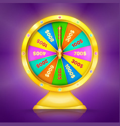 realistic retro gold wheel of fortune or luck vector image
