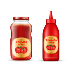 realistic set with two bottles of ketchup vector image