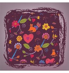 Retro floral background - love vector image