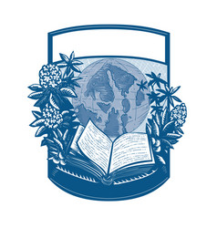 Rhododendron orcas island book woodcut vector