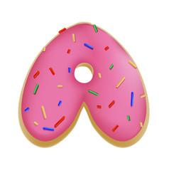 Rose glazed donut font concept with blue sprinkles vector