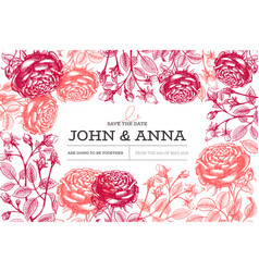 roses flowers design template hand drawn vector image