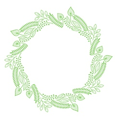 Round floral frame made of line art lines vector