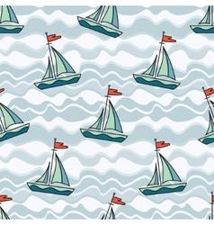 Sailing ship on waves vector