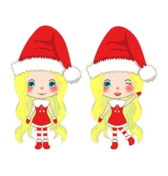 Santa Girl Christmas Outfit Pompom hat vector image