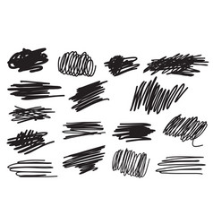 Scribble brush strokes set vector