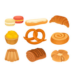Set images various bakery products vector