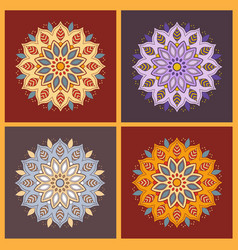 set of four colorful oriental flower mandala vector image