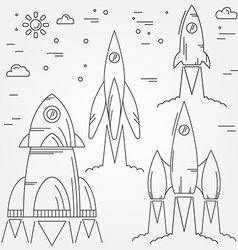 Set rockets thin line icon Human Space Flight For vector image