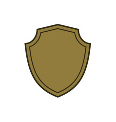 Shield shape gold icon simple flat logo on white vector