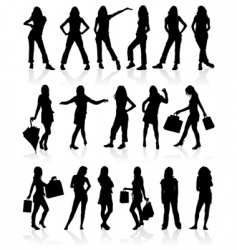 silhouette of girls vector image